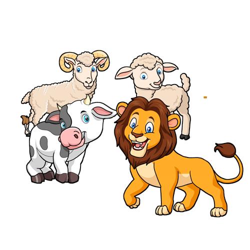 La ternera, la cabra y la oveja en compañía del león